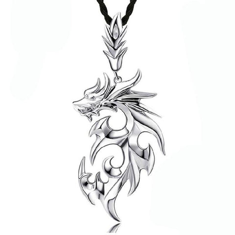 Fiery Sterling Silver Dragon Pendant Necklace