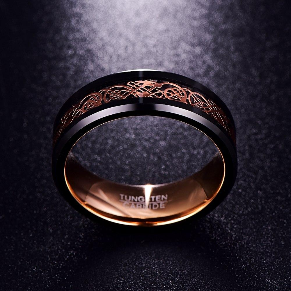 Double Inlay Black Tungsten Carbide with Dragon Celtic Pattern Wedding Ring
