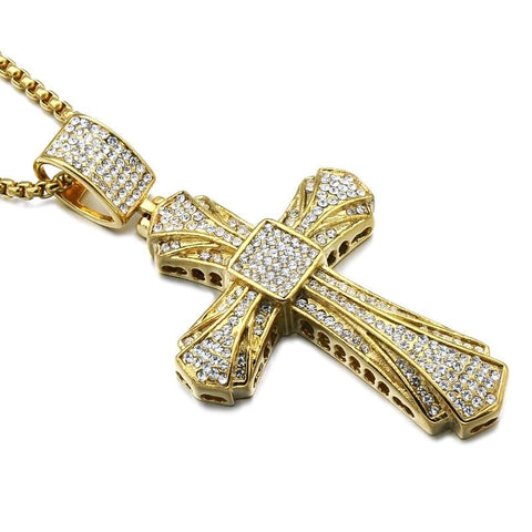 Luxurious Gold-Plated Stainless Steel Zirconia Cross Pendant Necklace
