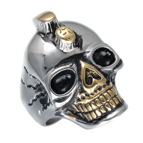 Two-Tone Stainless Steel Double Horned Skull Ring