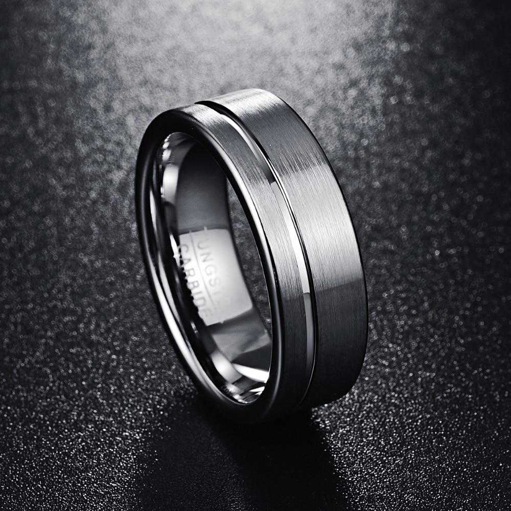 8mm Brushed Matte Pure Tungsten Carbide Wedding Rings
