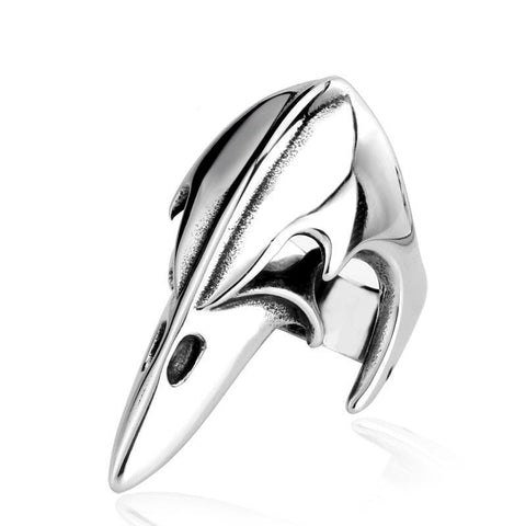 Men's Stainless Steel Crow Plague Mask Skull Ring