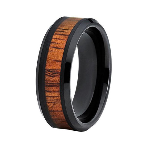 Warm Kos Wood Beveled Edge Black Ceramic Wedding Ring