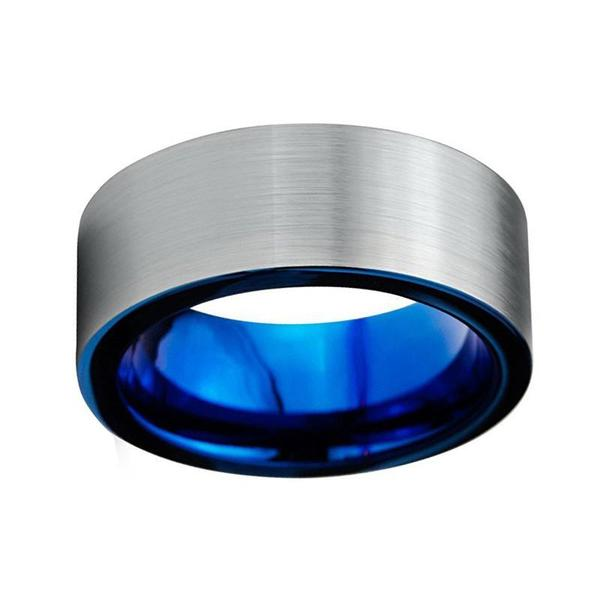 8mm Two Layers, Two Tone Silver Brushed Matte Surface with Blue Interior Wedding Band