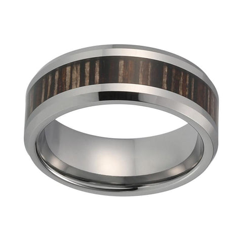 Silver-Tone Striped Brown Wood Tungsten Carbide Wedding Ring