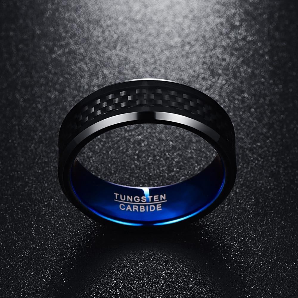 8mm Black Carbon Fiber Inlay Comfort Fit Engagement Ring