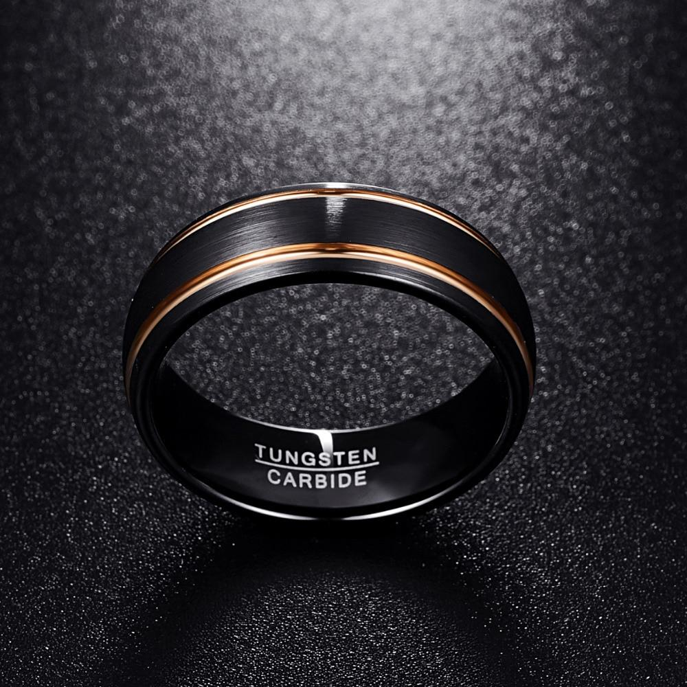 8mm Classic Black Brushed Matte Tungsten Carbide with Two Gold Plated Stripes Wedding Ring