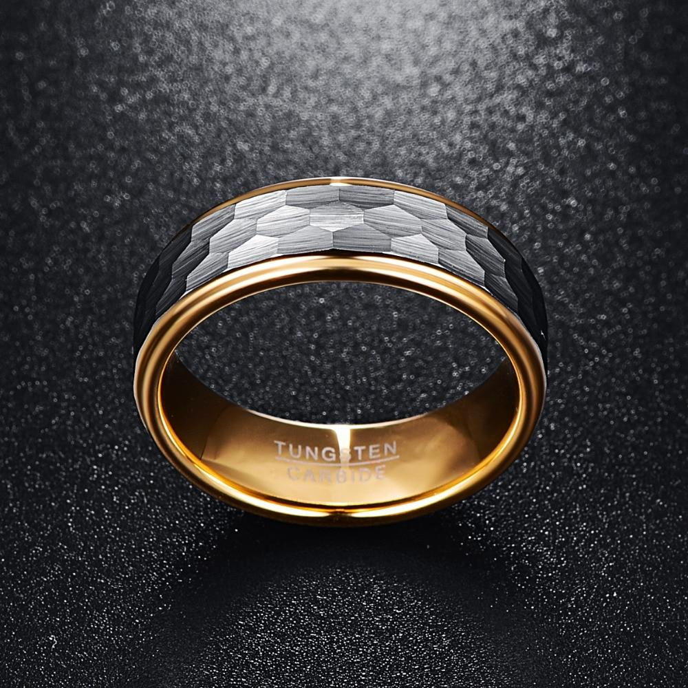 8mm Flat Cut Gold Coated Tungsten with Brushed Matte Geometric pattern Wedding Ring