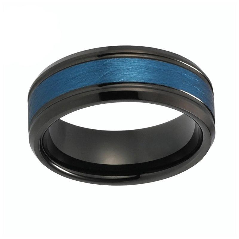 8mm Blue Center with Grooved Black Tungsten Carbide Wedding Ring
