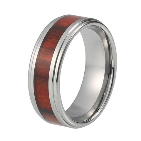 Silver-Plated Wood Inlay Beveled Tungsten Carbide Wedding Ring