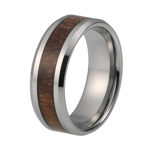 8mm Silver Organic Dark Wood Tungsten Carbide Wedding Ring