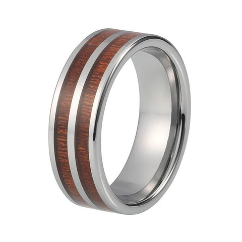 Silver-Ton Double Wood Inlay Tungsten Carbide Wedding Ring
