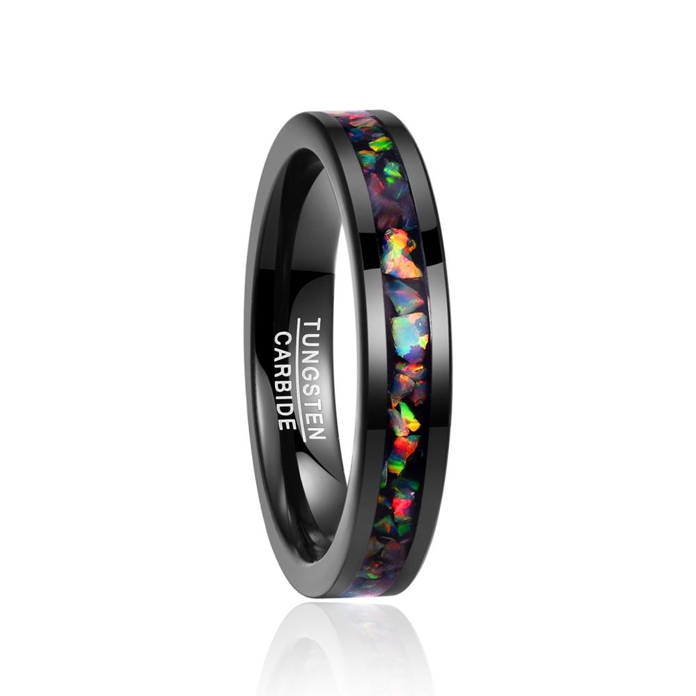 4mm Beautiful Stained Glass Pattern Inlay with Black Tungsten Carbide Wedding Ring