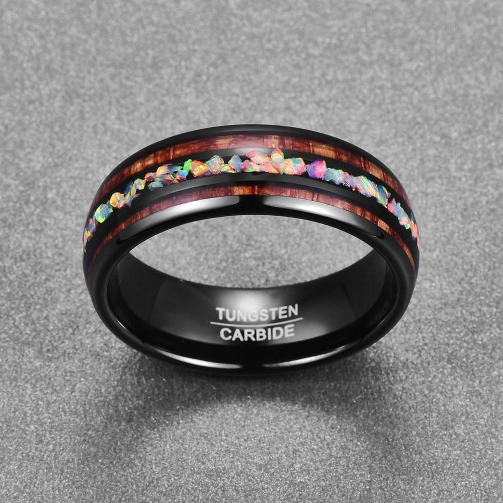 8mm Black Tungsten Carbide with Hawaiian Wood Inlay and Opal Filled Center Wedding Ring
