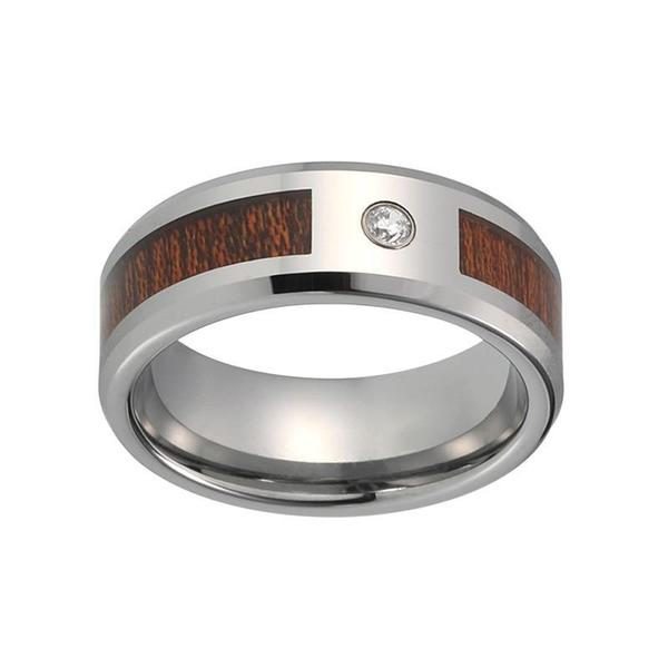 Dark Wood Inlay with Silver Coated Tungsten Carbide and CZ Stone Wedding Ring