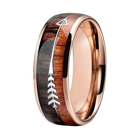 Rose Gold Natural Wood Arrow Tungsten Carbide Wedding Ring