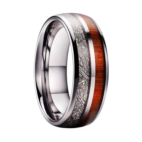 Natural Wood Meteorite Inlay Tungsten Carbide Wedding Ring