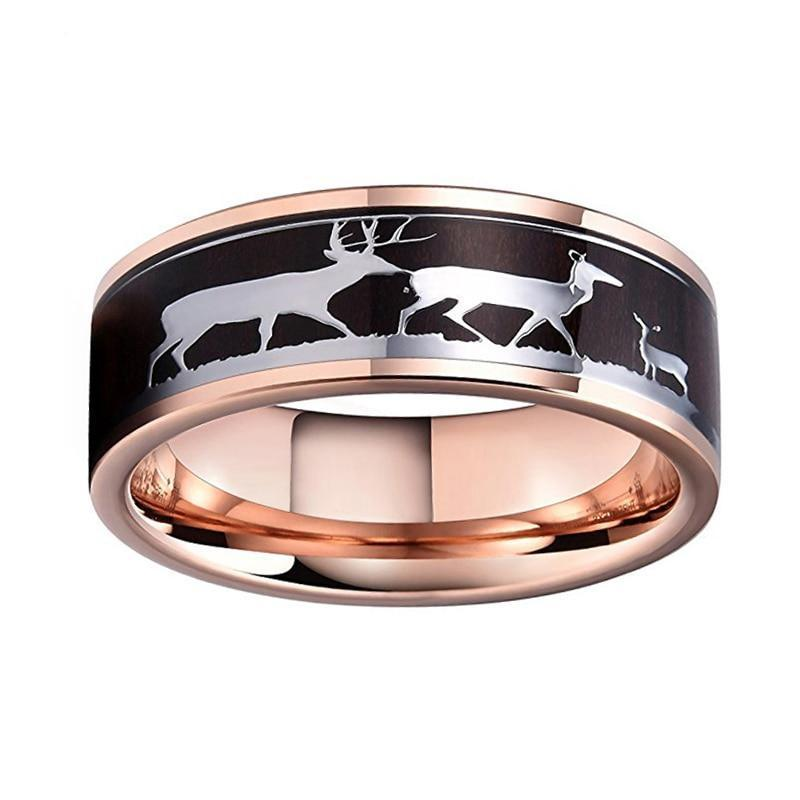 Dark Wood Inlay with Rein Deer Drawings on Rose Color Gold Coated Tungsten Carbide Ring