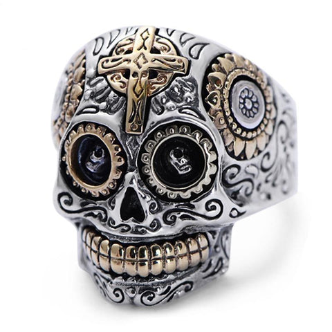 Sterling Silver Gold Happy Mexican Skull Ring