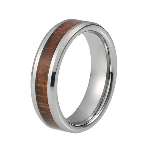 Silver Organic Brown Wood Tungsten Carbide Wedding Ring