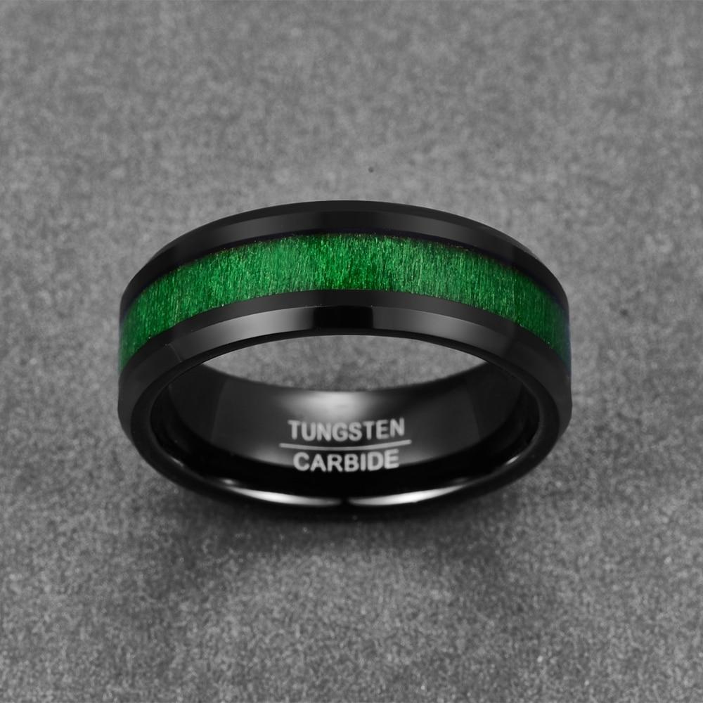 8mm Black Polished Tungsten Carbide with a Green Inlay Wedding Ring