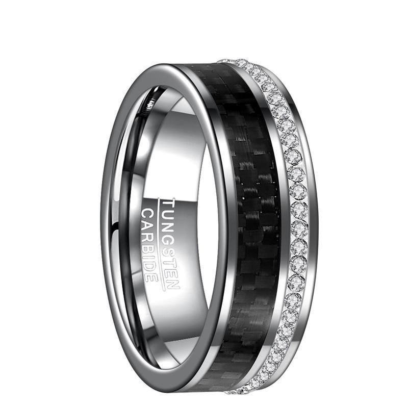 Silver Tungsten Metal with Black Carbon Fiber and Crystal Stones Wedding Rings