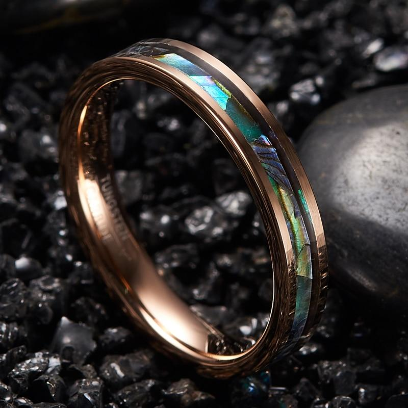 4mm Rose Color Tungsten Metal with Opal Inlay Wedding Rings