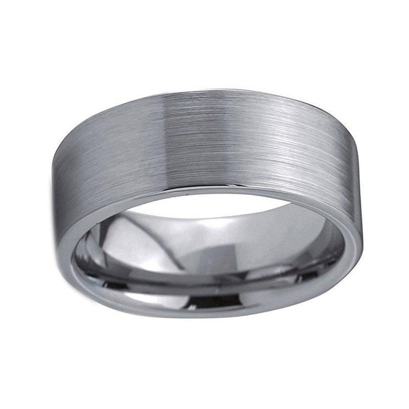 8mm Unisex Silver Coated Tungsten Pipe Cut Wedding Ring