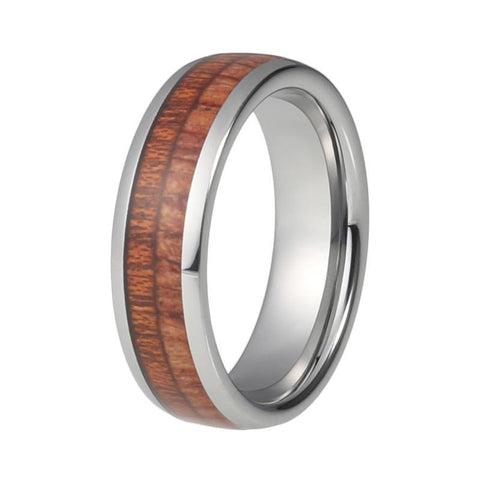 High Polish Wood Inlay Tungsten Carbide Wedding Ring