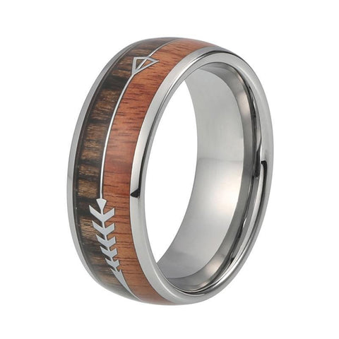 Zebra & Koa Wood Silver Arrow Tungsten Carbide Wedding Ring