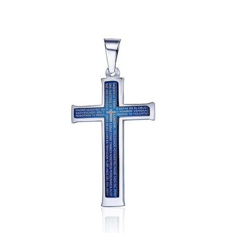 Blue Stainless Steel Latin Lord's Prayer Cross Necklace