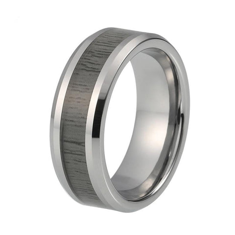 Grey Wood Inlay Beveled Tungsten Carbide Wedding Ring