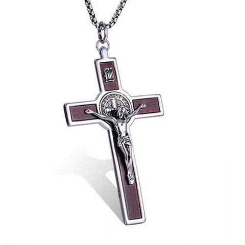 INRI Dark Wood Stainless Steel Crucifix Necklace