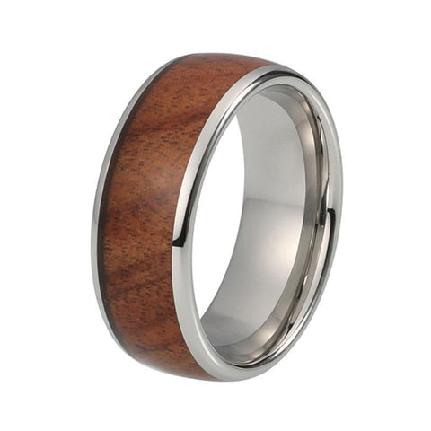 8m Dome Koa Wood Inlay Tungsten Carbide Wedding Ring