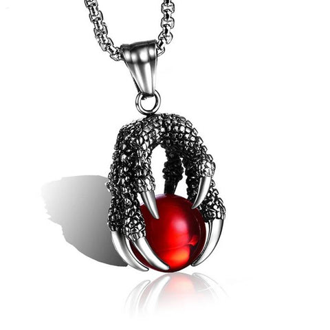 Silver Claw Red Dragon Ball Pendant Necklace