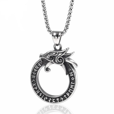 Ouroboros Stainless Steel Dragon Rune Pendant Necklace