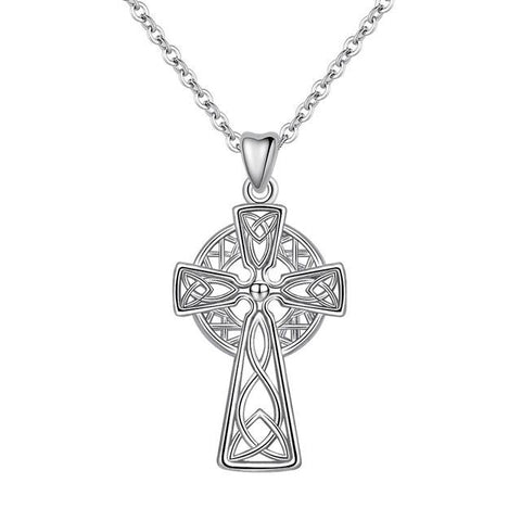 Sterling Silver Celtic Knot Cross Pendant Necklace