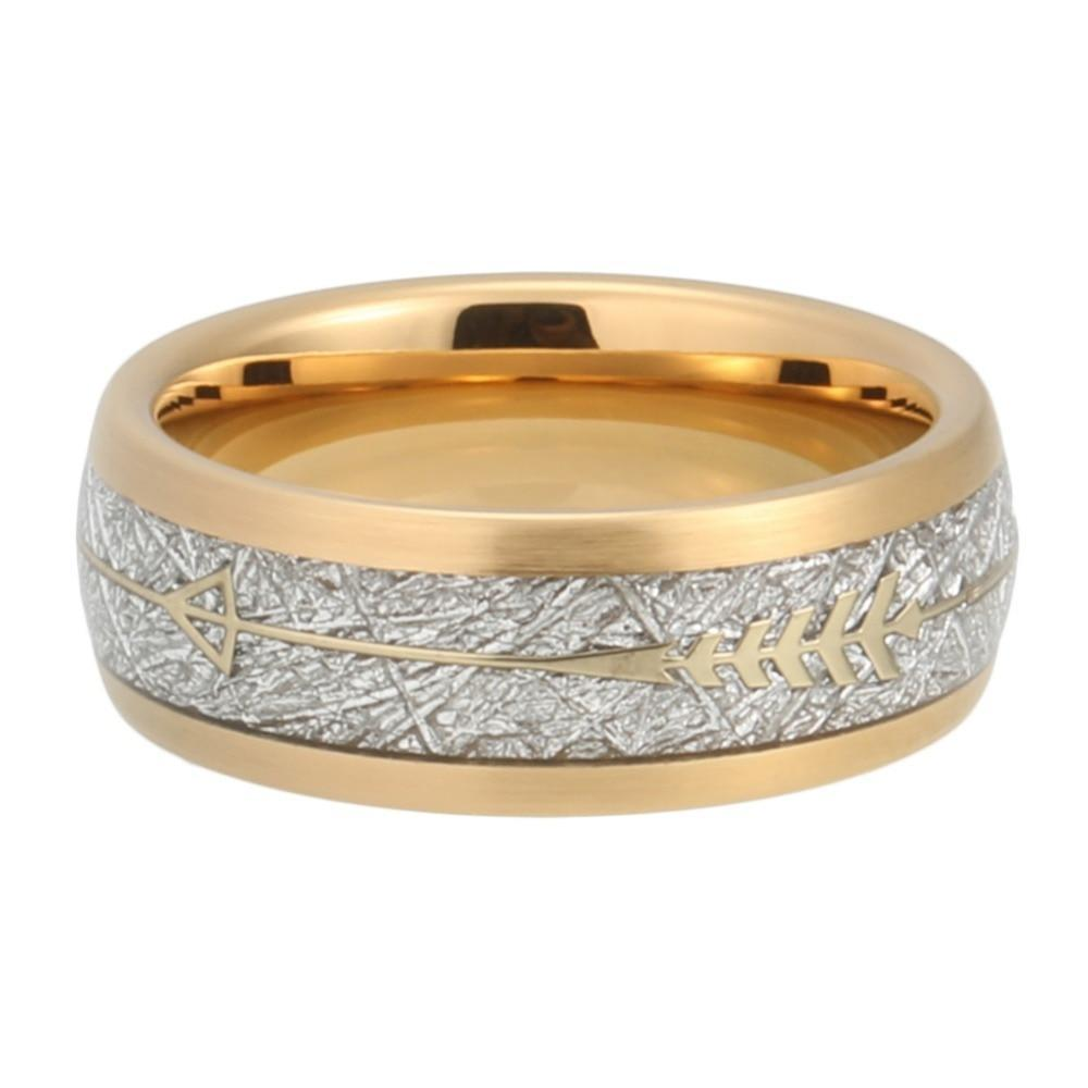 Gold Plated Bound Tungsten Carbide with Meteorite Inlay and Arrow Design Engraved Ring