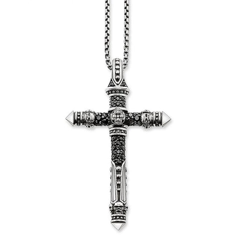Silver Paved Black Rhinestone Skull Cross Necklace
