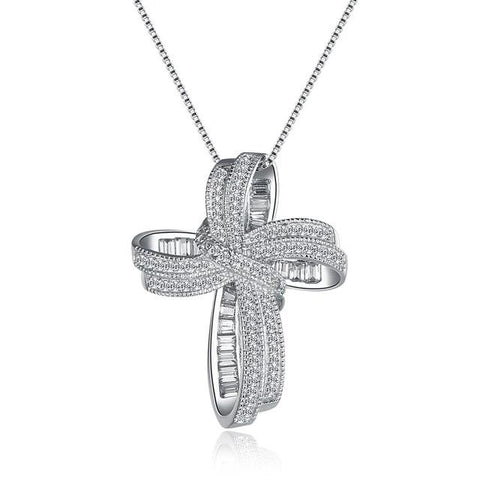Iced Rhodium-Plated CZ Cross Loop Necklace