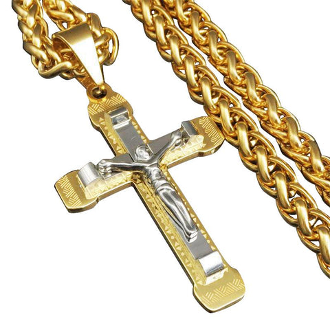 Gold & Silver Geometric Pattern Crucifix Pendant Necklace