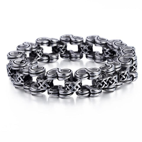 Stainless steel Infinity Rotating Ring Motorcycle Chain Bracelet
