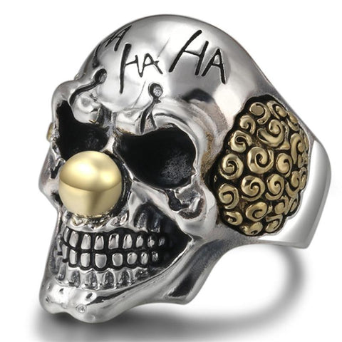 Gold-Plated Sterling Silver Laughing Crown Skull Ring