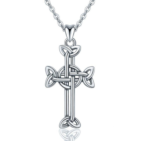 Women's Sterling Silver Celtic Knot Cross Pendant Necklace