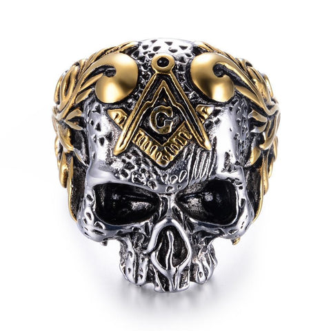 Freemasonry Gold & Silver Stainless Skull Ring