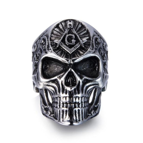 Gold & Silver Stainless Steel Masonic Skull Ring