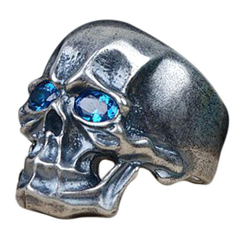 High Polish Sterling Silver Blue Cubic Zirconia Skull Ring
