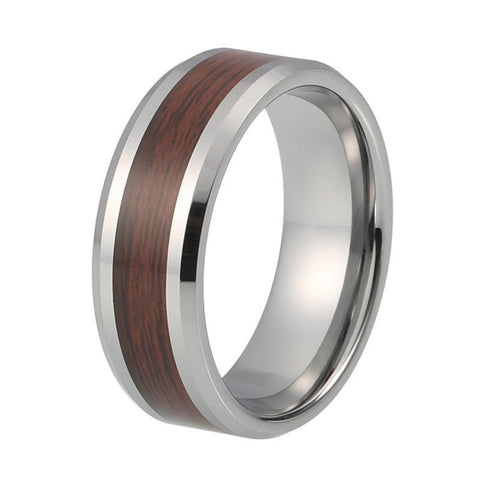 Silver-Tone Fine Grain Tungsten Inlay Carbide Wedding Ring