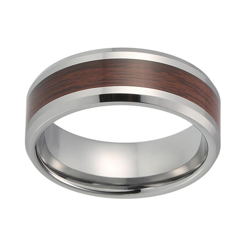 8mm Him and Her Beveled Edges Wood Inlay Tungsten Wedding Rings