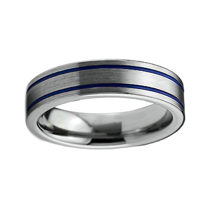 6mm Silver Coated Tungsten Metal with Double Blue Groove Wedding Ring